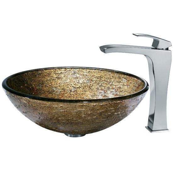 Vigo Textured Copper Vessel Sink and Square-Edged Faucet, Chrome Finish