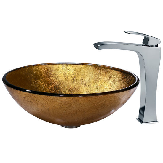 Vigo Liquid Gold Vessel Sink and Faucet, Chrome Finish