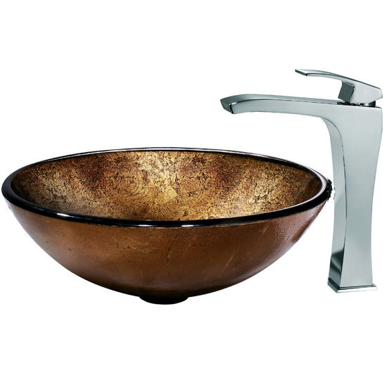 Vigo Lava Vessel Sink and Faucet, Chrome Finish