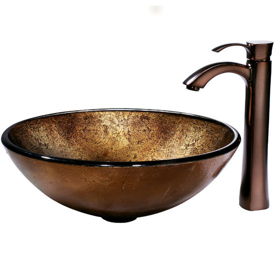 Vigo Liquid Copper Glass Vessel Sink and Bronze Faucet, Oil Rubbed Bronze Finish