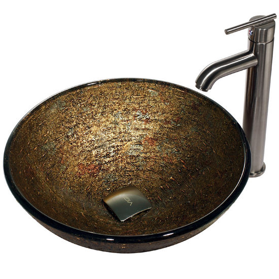 Vigo Textured Copper Vessel Sink and Statuesque Faucet, Brushed Nickel Finish