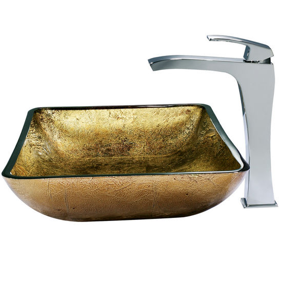 Vigo Rectangular Copper Vessel Sink and Fountain Faucet, Chrome Finish