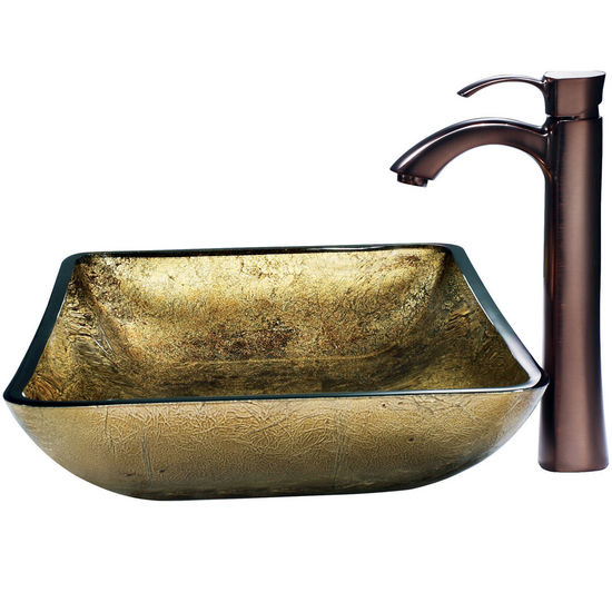 Vigo Rectangular Copper Vessel Sink and Bronze Faucet, Oil Rubbed Bronze Finish