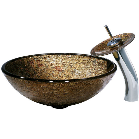 Vigo Textured Copper Vessel Sink and Waterfall Faucet, Chrome Finish