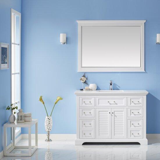 "Vinnova Lorna 48"" Single Vanity Set in White with Fine White Quartz Countertop, Undermount Rectangular Ceramic Basin and Mirror, Base Cabinet: 47-3/16"" W x 21-5/8"" D x 33-1/8"" H"
