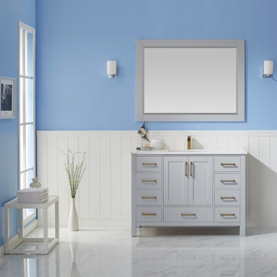 "Vinnova Shannon 48"" Single Vanity Set in Paris Grey with Fine White Quartz Countertop, Undermount Rectangular Ceramic Basin and Mirror, Base Cabinet: 47-3/16"" W x 21-5/8"" D x 33-1/8"" H"