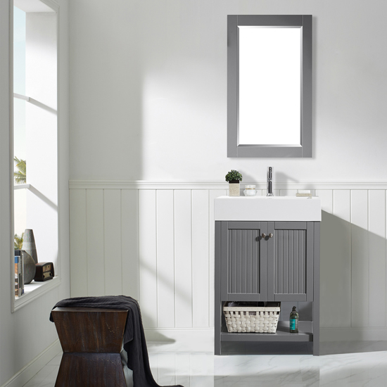 Vinnova Bathroom Vanity 28'' Wide Lifestyle View Front Grey