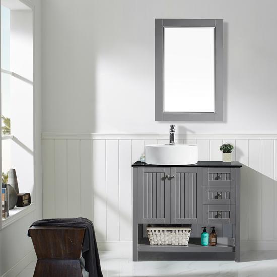 Vinnova Bathroom Vanity 36'' Lifestyle View Front Grey