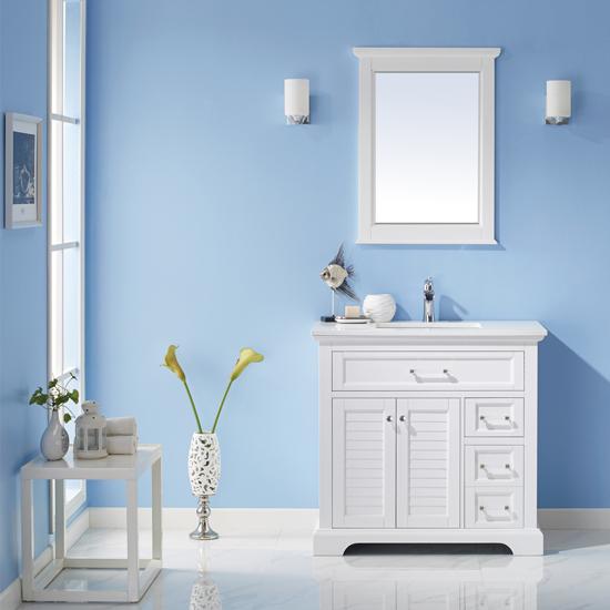 Vinnova Bathroom Vanity Lifestyle View Front White
