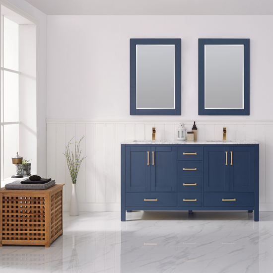 Vinnova Bathroom Vanity 60'' Lifestyle View Front Blue
