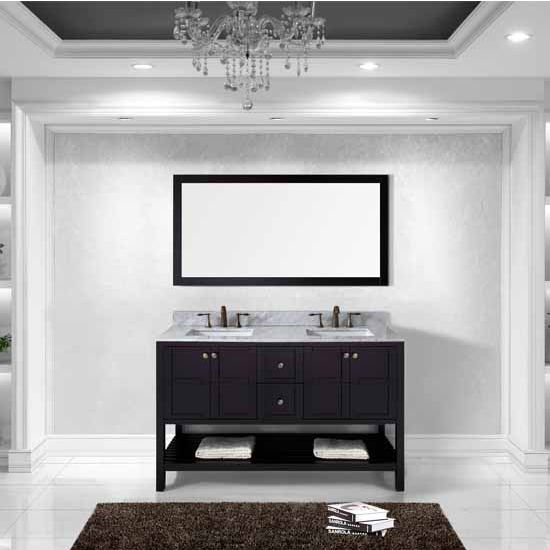Virtu USA 60'' Winterfell Double Square Sinks Bathroom Vanity Set, Espresso with Italian Carrara Marble Top