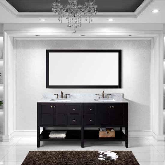 Virtu USA 72'' Winterfell Double Square Sinks Bathroom Vanity Set, Espresso with Italian Carrara Marble Top