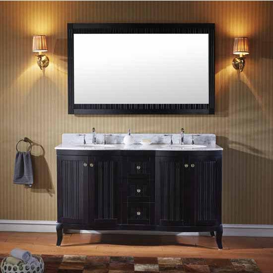 Virtu USA 60'' Khaleesi Double Round Sinks Bathroom Vanity Set, Espresso with Italian Carrara Marble Top