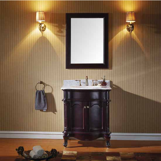 Virtu USA 30'' Norhaven Single Round Sink Bathroom Vanity Set, Espresso with Italian Carrara Marble Top