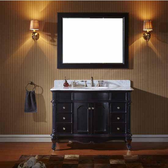 Virtu USA 48'' Norhaven Single Round Sink Bathroom Vanity Set, Espresso with Italian Carrara Marble Top
