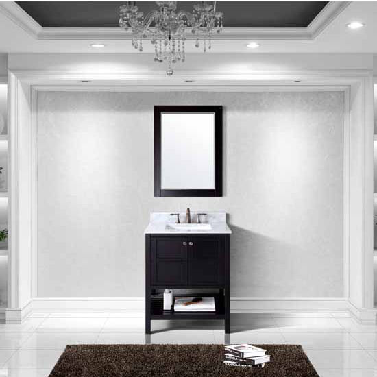 Virtu USA 30'' Winterfell Single Square Sink Bathroom Vanity Set, Espresso with Italian Carrara Marble Top
