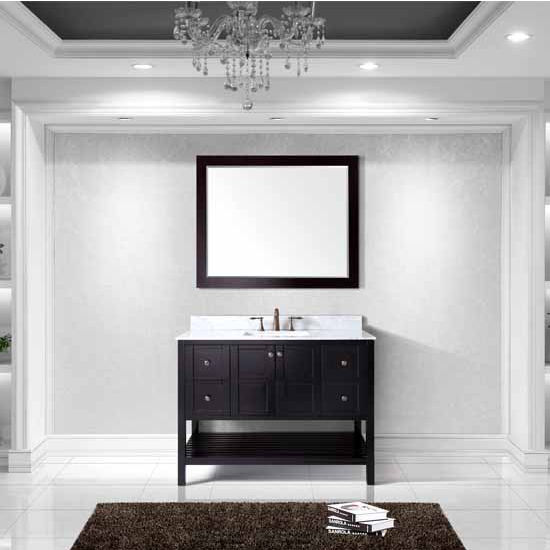 Virtu USA 48'' Winterfell Single Square Sink Bathroom Vanity Set, Espresso with Italian Carrara Marble Top