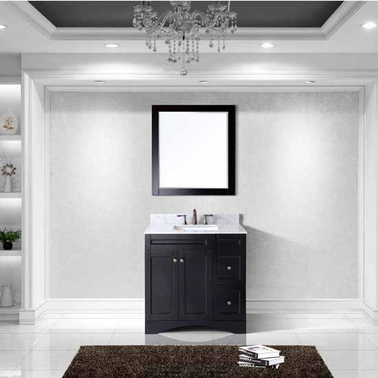 Virtu USA 36'' Elise Single Square Sink Bathroom Vanity Set, Espresso with Italian Carrara Marble Top