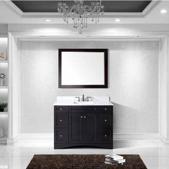 Virtu USA 48'' Elise Single Square Sink Bathroom Vanity Set, Espresso with Italian Carrara Marble Top
