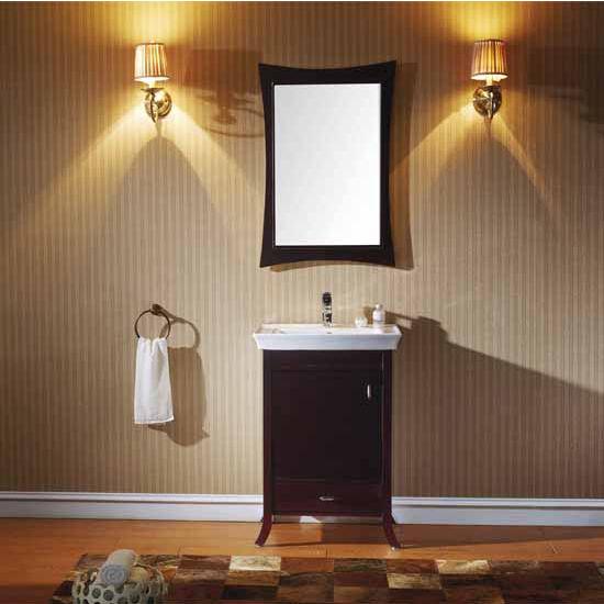 Virtu USA 24'' Summer Grove Single Round Sink Bathroom Vanity Set, Espresso with Ceramic Top
