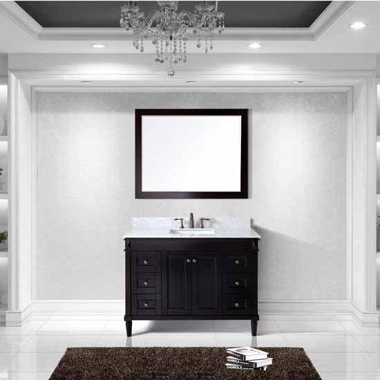 Virtu USA 48'' Tiffany Single Square Sink Bathroom Vanity Set, Espresso with Italian Carrara Marble Top