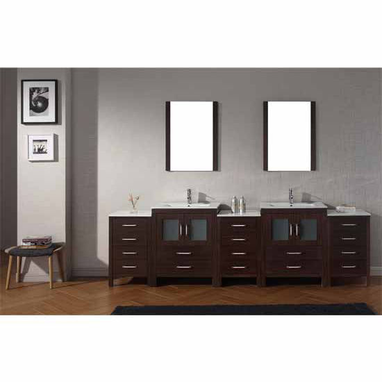 Virtu USA 110'' Dior Double Sink Bathroom Vanity Set, Espresso with Ceramic Countertop, Integrated Sinks, Polished Chrome Faucet
