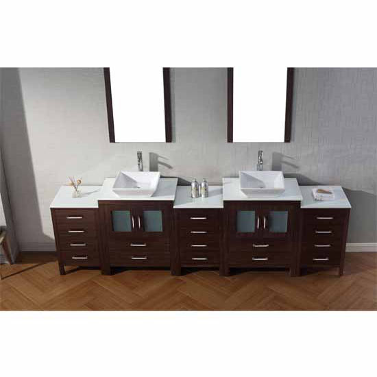 Virtu USA 110'' Dior Double Sink Bathroom Vanity Set, Espresso with Pure White Marble Countertop, Polished Chrome Faucet