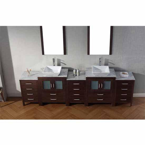 Virtu USA 110'' Dior Double Sink Bathroom Vanity Set, Espresso with Italian Carrara Marble Countertop, Polished Chrome Faucet