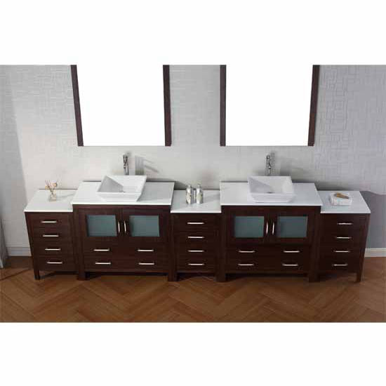 Virtu USA 118'' Dior Double Sink Bathroom Vanity Set, Espresso with Pure White Marble Countertop, Polished Chrome Faucet