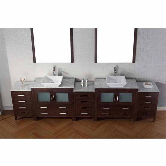 Virtu USA 118'' Dior Double Sink Bathroom Vanity Set, Espresso with Italian Carrara Marble Countertop, Polished Chrome Faucet