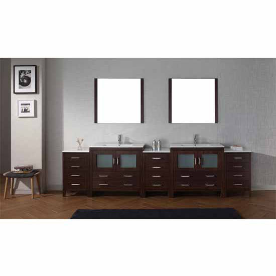 Virtu USA 126'' Dior Double Sink Bathroom Vanity Set, Espresso with Ceramic Countertop, Integrated Sinks, Polished Chrome Faucet