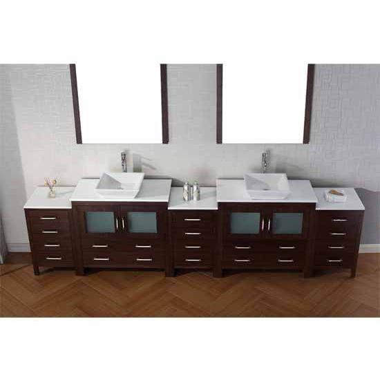 Virtu USA 126'' Dior Double Sink Bathroom Vanity Set, Espresso with Pure White Marble Countertop, Polished Chrome Faucet