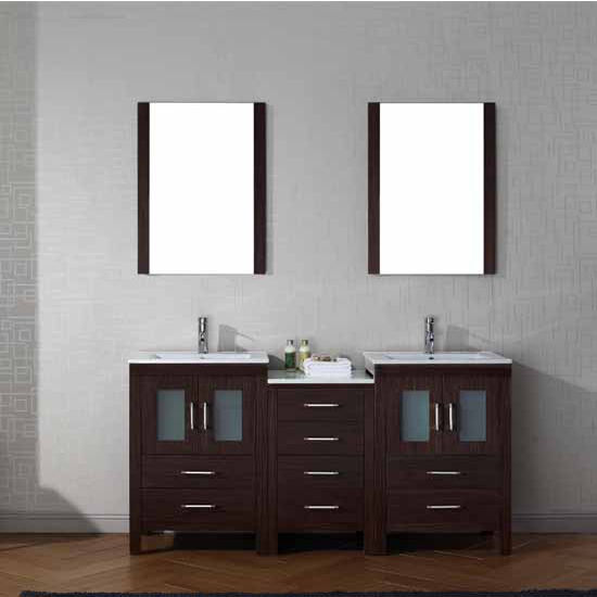 Virtu USA 66'' Dior Double Sink Bathroom Vanity Set, Espresso with Ceramic Countertop, Integrated Sinks, Polished Chrome Faucet