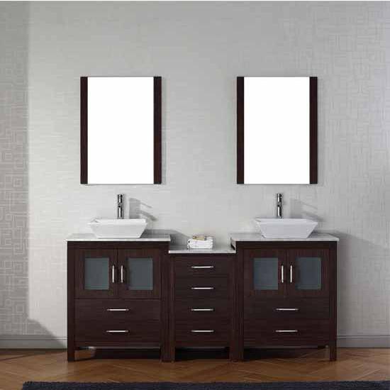 Virtu USA 66'' Dior Double Sink Bathroom Vanity Set, Espresso with Italian Carrara Marble Countertop, Polished Chrome Faucet