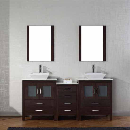Virtu USA 74'' Dior Double Sink Bathroom Vanity Set, Espresso with Pure White Marble Countertop, Polished Chrome Faucet