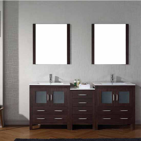 Virtu USA 78'' Dior Double Sink Bathroom Vanity Set, Espresso with Ceramic Countertop, Integrated Sinks, Polished Chrome Faucet