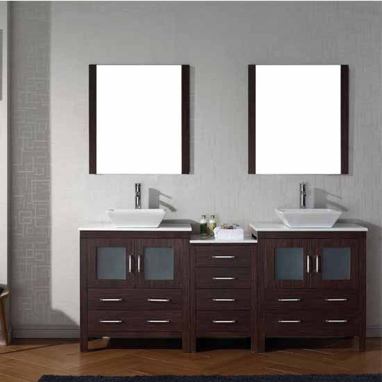 Virtu USA 78'' Dior Double Sink Bathroom Vanity Set, Espresso with Pure White Marble Countertop, Polished Chrome Faucet