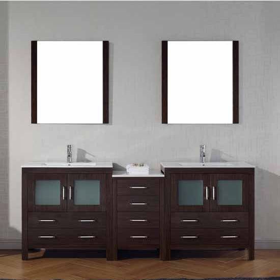 Virtu USA 82'' Dior Double Sink Bathroom Vanity Set, Espresso with Ceramic Countertop, Integrated Sinks, Polished Chrome Faucet