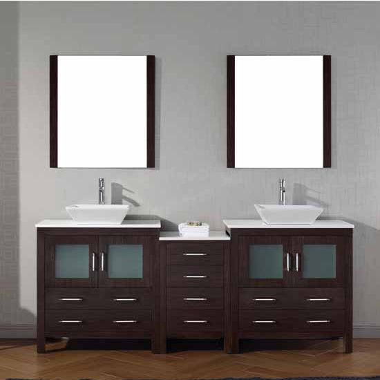 Virtu USA 82'' Dior Double Sink Bathroom Vanity Set, Espresso with Pure White Marble Countertop, Polished Chrome Faucet
