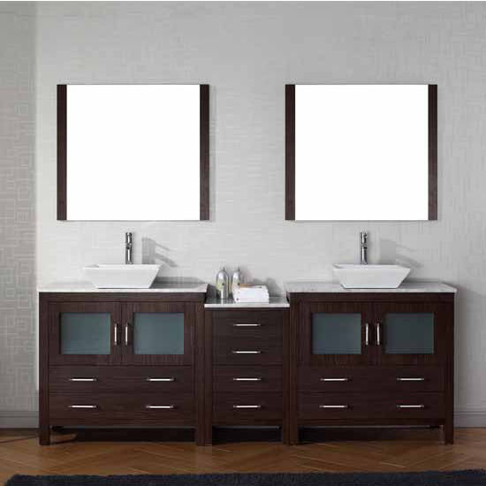 Virtu USA 82'' Dior Double Sink Bathroom Vanity Set, Espresso with Italian Carrara Marble Countertop, Polished Chrome Faucet
