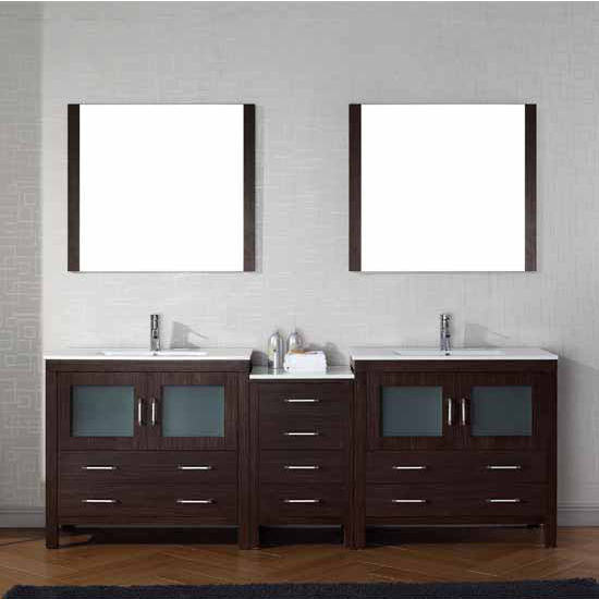 Virtu USA 90'' Dior Double Sink Bathroom Vanity Set, Espresso with Ceramic Countertop, Integrated Sinks, Polished Chrome Faucet