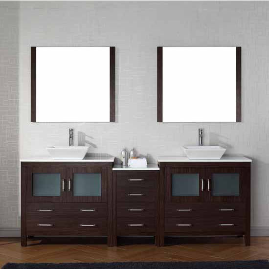 Virtu USA 90'' Dior Double Sink Bathroom Vanity Set, Espresso with Pure White Marble Countertop, Polished Chrome Faucet