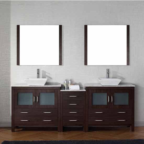 Virtu USA 90'' Dior Double Sink Bathroom Vanity Set, Espresso with Italian Carrara Marble Countertop, Polished Chrome Faucet