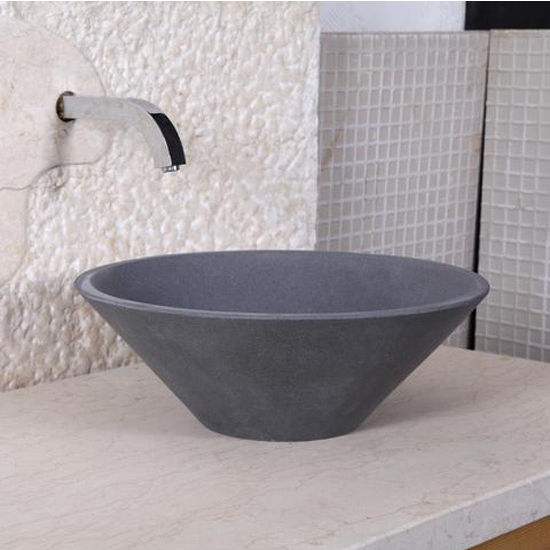 Virtu Orpheus Vessel Bathroom Sink in Andesite Granite