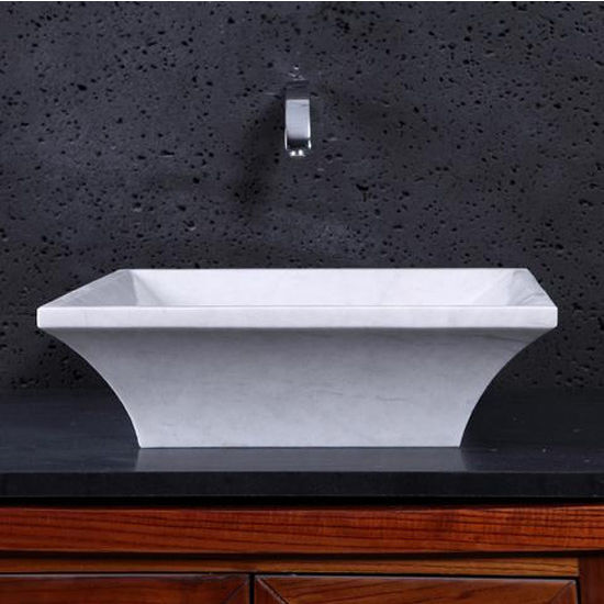 Virtu Damon Vessel Bathroom Sink in Hunan White Marble