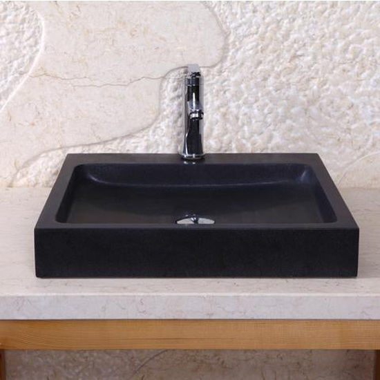 Virtu Nester Vessel Bathroom Sink in Shanxi Black Granite
