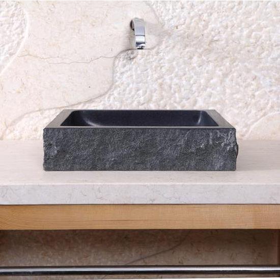 Virtu Neril Vessel Bathroom Sink in Shanxi Black Granite