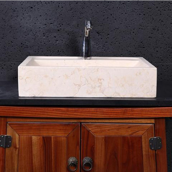 Virtu Pandora Vessel Bathroom Sink in Sunny Yellow Marble