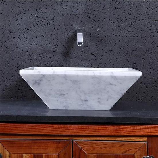 Virtu Helios Vessel Bathroom Sink in Bianco Carrara Marble
