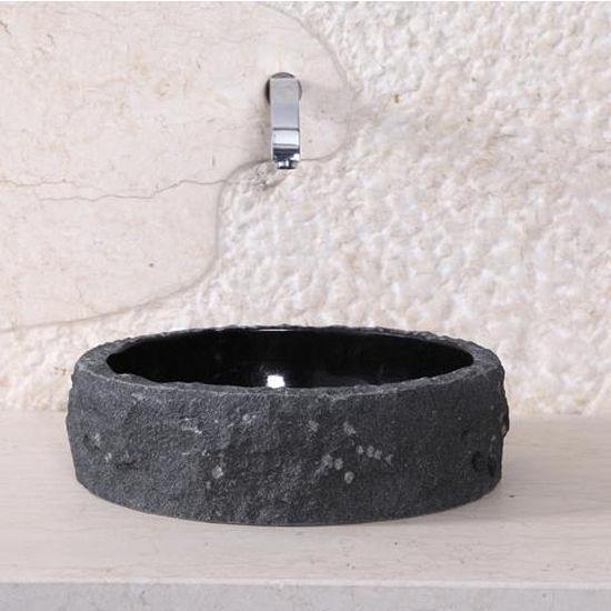 Virtu Hercules Vessel Bathroom Sink in Shanxi Black Granite